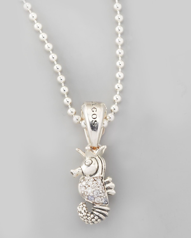 Lyst lagos rare wonders diamond seahorse pendant necklace in metallic gallery mozeypictures Images