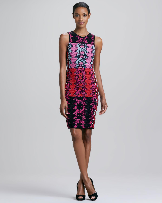 M Missoni Hibiscus Intarsia Print Dress In Black Lyst