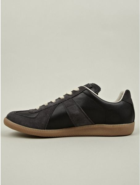 Maison Margiela Mens Leather And Suede Low Top Replica Sneaker In Black For Men Lyst