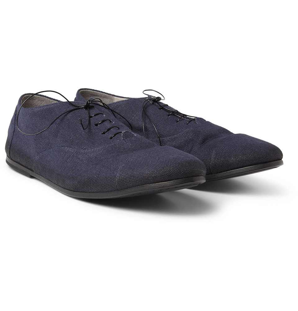 Marsell Canvas And Leather Oxford Shoes In Blue For Men | Lyst
