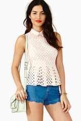 Nasty Gal Pretty Peplum Top - Lyst
