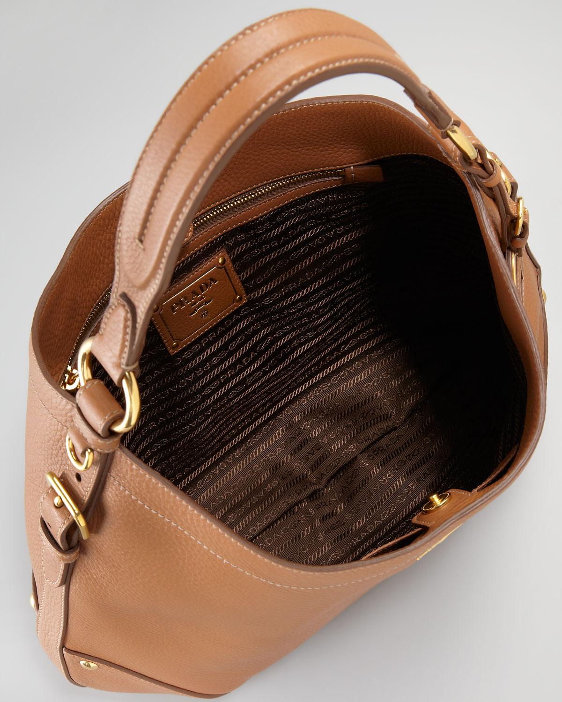 205dee06c7fa9 Prada Vitello Daino Snap Hobo Bag in Brown - Lyst
