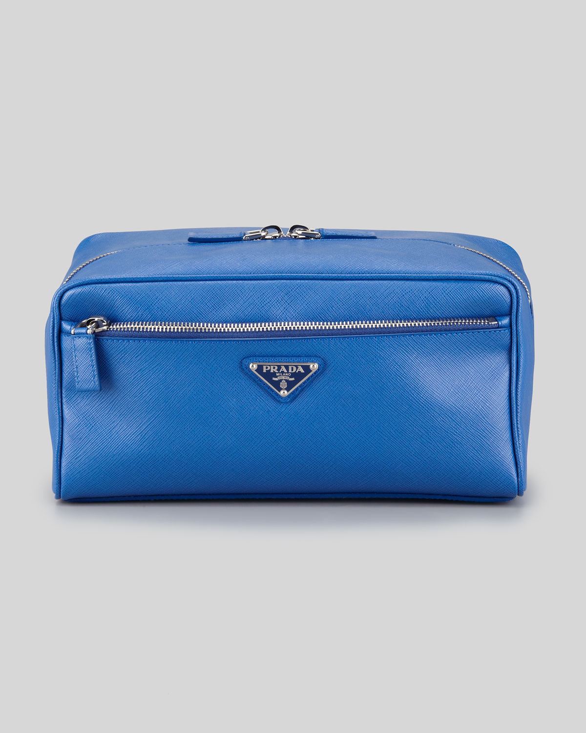 prada saffiano travel toiletry bag in blue for men | lyst