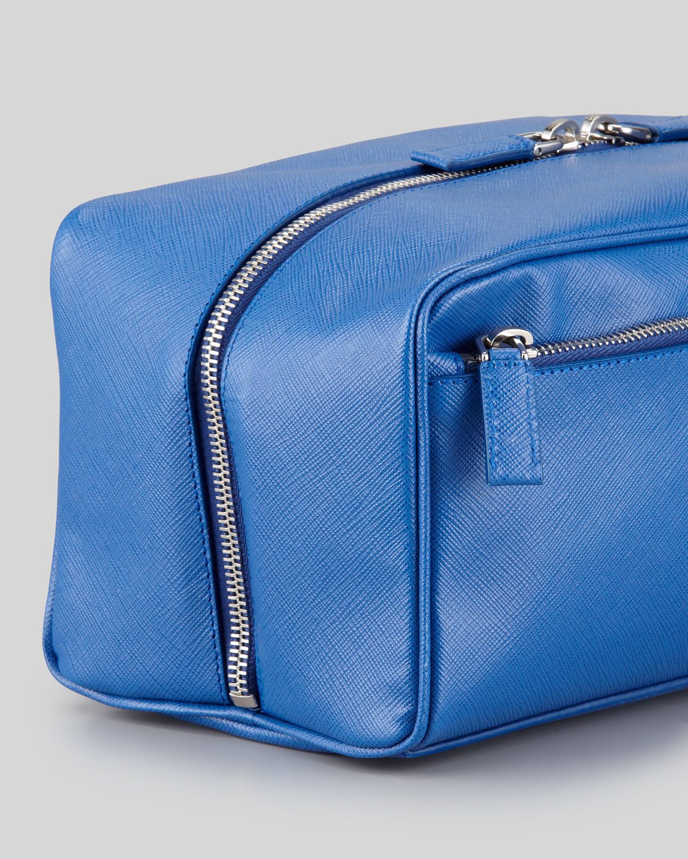 Lyst - Prada Saffiano Travel Toiletry Bag in Blue for Men 10c96e65a9ad7