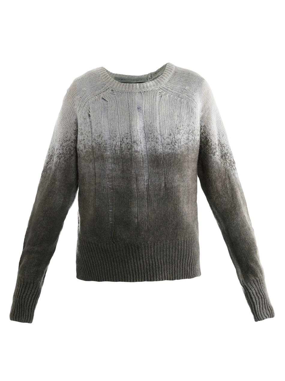 Raquel allegra Shredded Knit Sweater in Gray Lyst