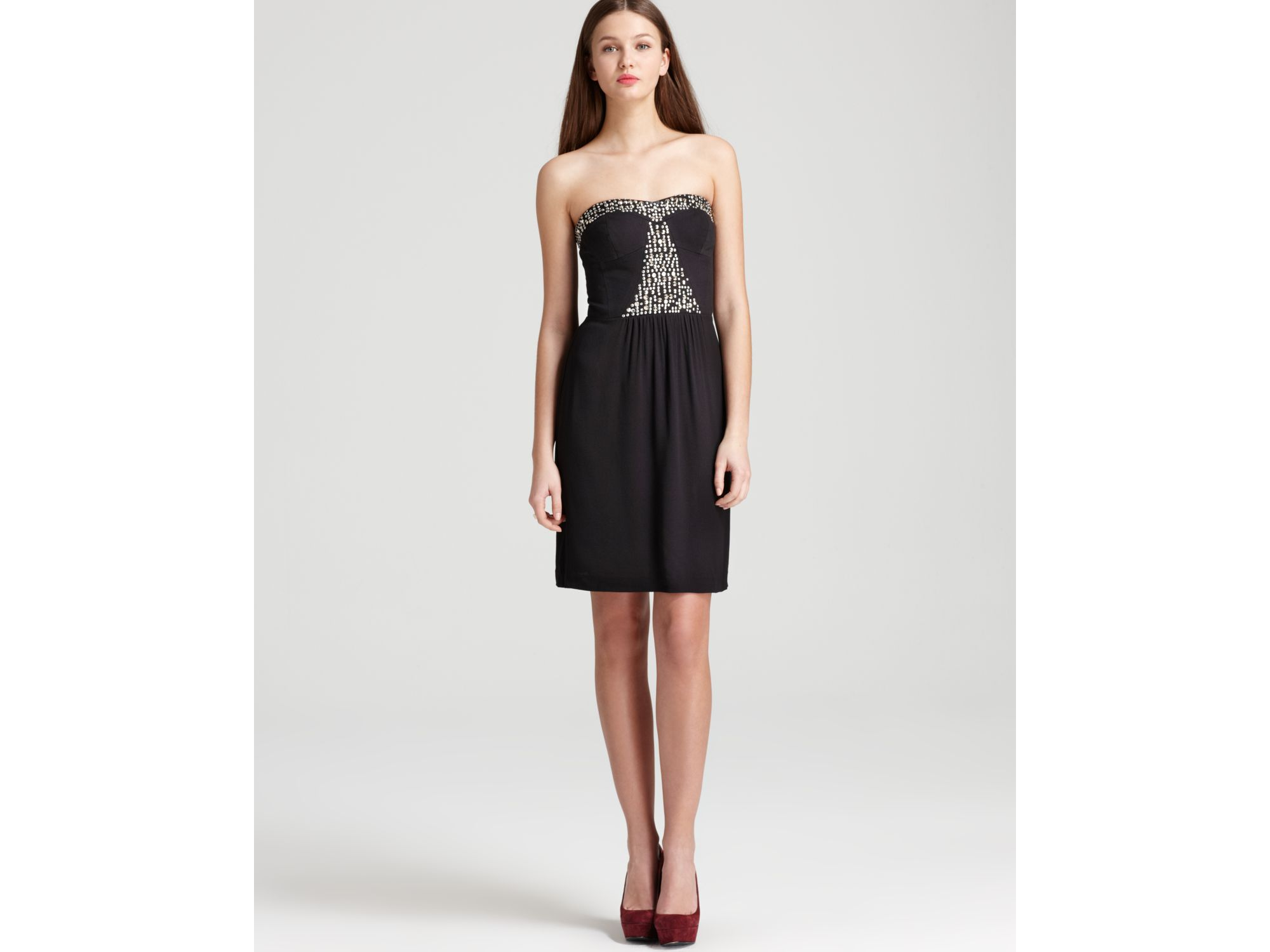 Rebecca taylor Strapless Dress Beaded in Black - Lyst