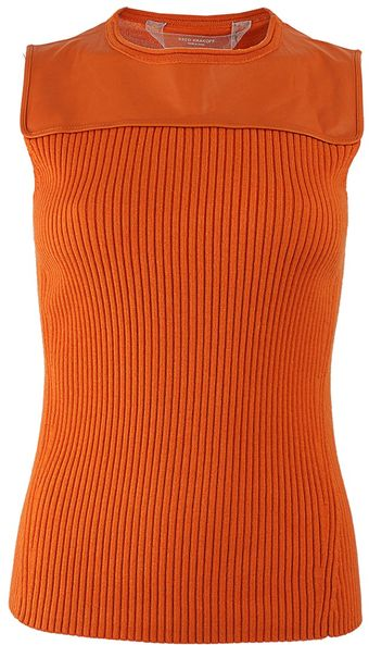 Reed Krakoff Sleeveless Leather Yoke Ribbed Top - Lyst