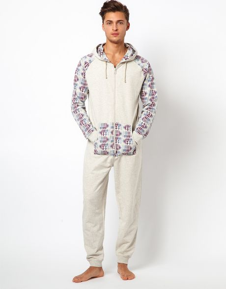 River Island Aztec Sleeve Onesie In Gray For Men Grey Lyst