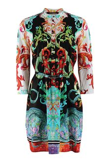 Roberto Cavalli Long Sleeve Jasper Print Belted Dress - Lyst