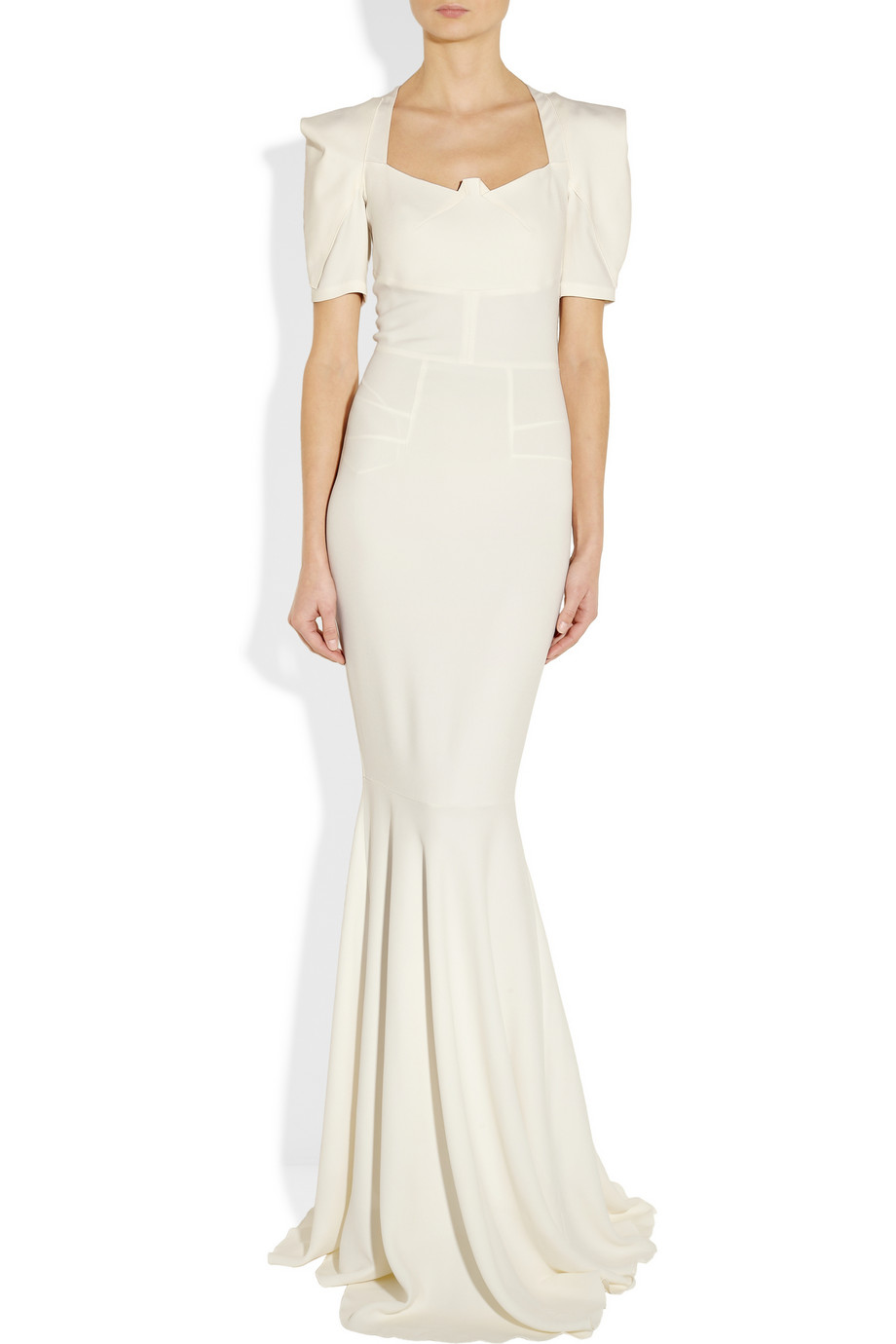 Roland Mouret Jansen Stretch Crepe Gown In White Cream