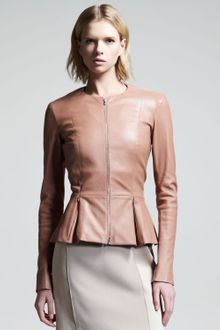 The Row Stretch Leather Peplum Jacket - Lyst