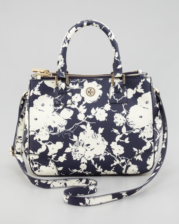 5212fb15035a Lyst - Tory Burch Small Doublezip Floralprint Tote Bag in Blue