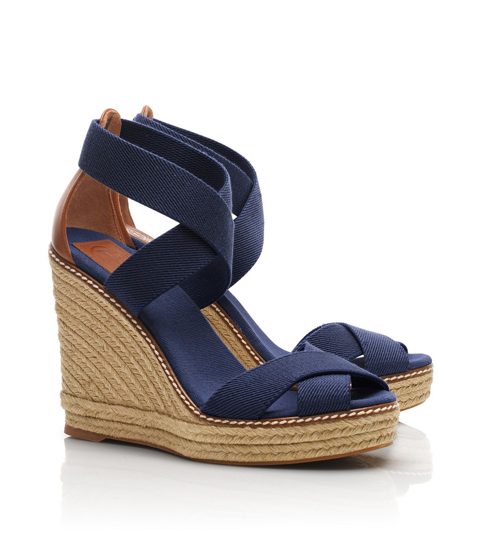 Lyst Tory Burch Adonis Wedge Espadrille In Blue