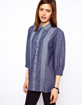 ASOS Collection Asos Shirt in Panelled Chambray with Elastic Cuff Detail - Lyst