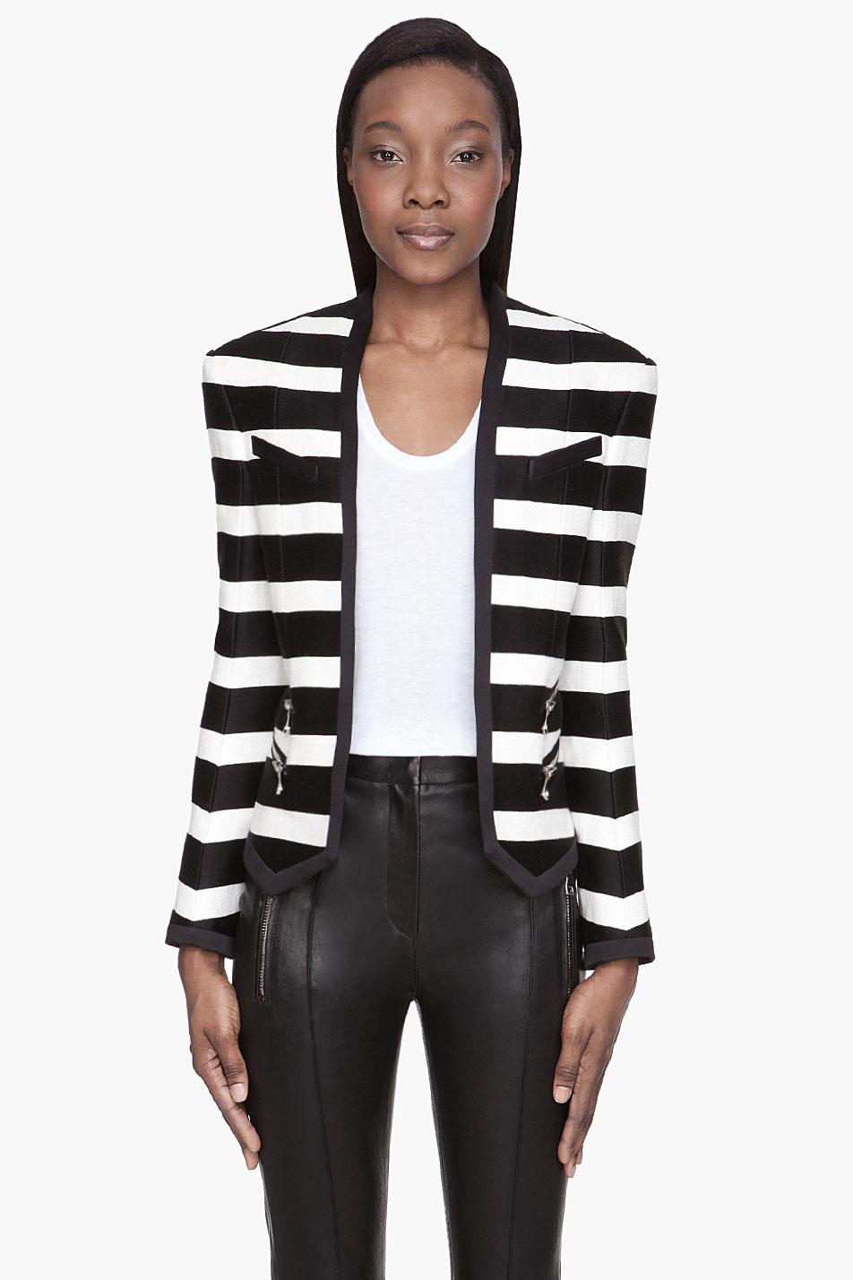 Balmain White And Black Linen Striped Blazer In White Lyst