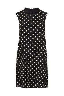 Boutique By Jaeger Polka Dot Frill Neck Dress - Lyst