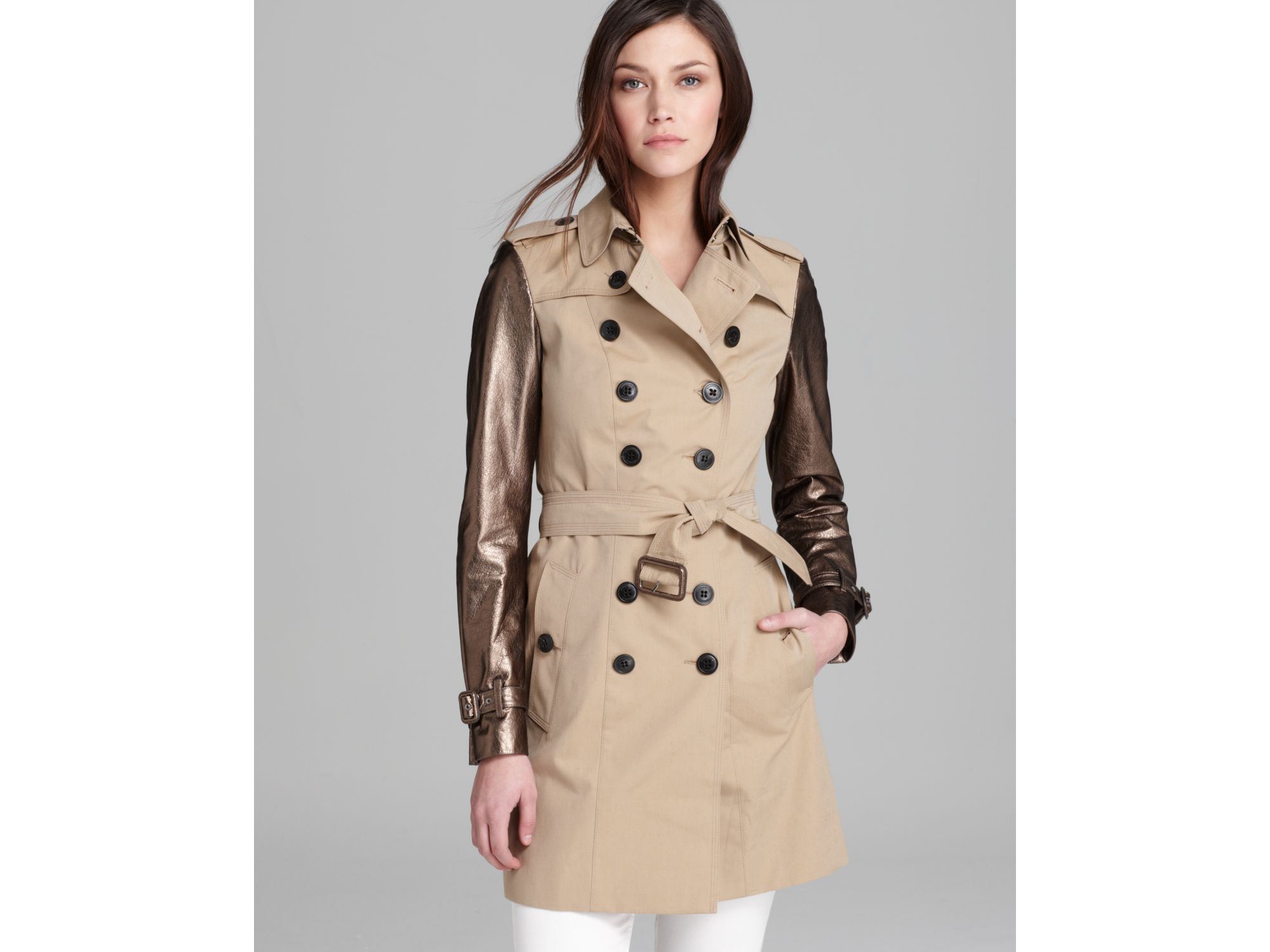 men/man complete range of articles factory authentic Burberry London Trench Coat Metallic Leather Sleeve in Honey ...