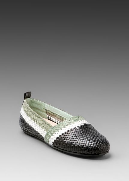 House Of Harlow 1960 Woven Kye Flat in Blackmintwhite in White for Men (black & mint & white)
