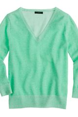 J.Crew Collection Cashmere Plaited Vneck Sweater - Lyst