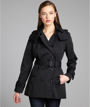 London Fog Black Cotton Blend Belted Trench Coat - Lyst
