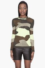 McQ by Alexander McQueen Green Camouflage Knit Sweater - Lyst