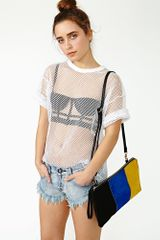 Nasty Gal White Shadow Mesh Tee - Lyst