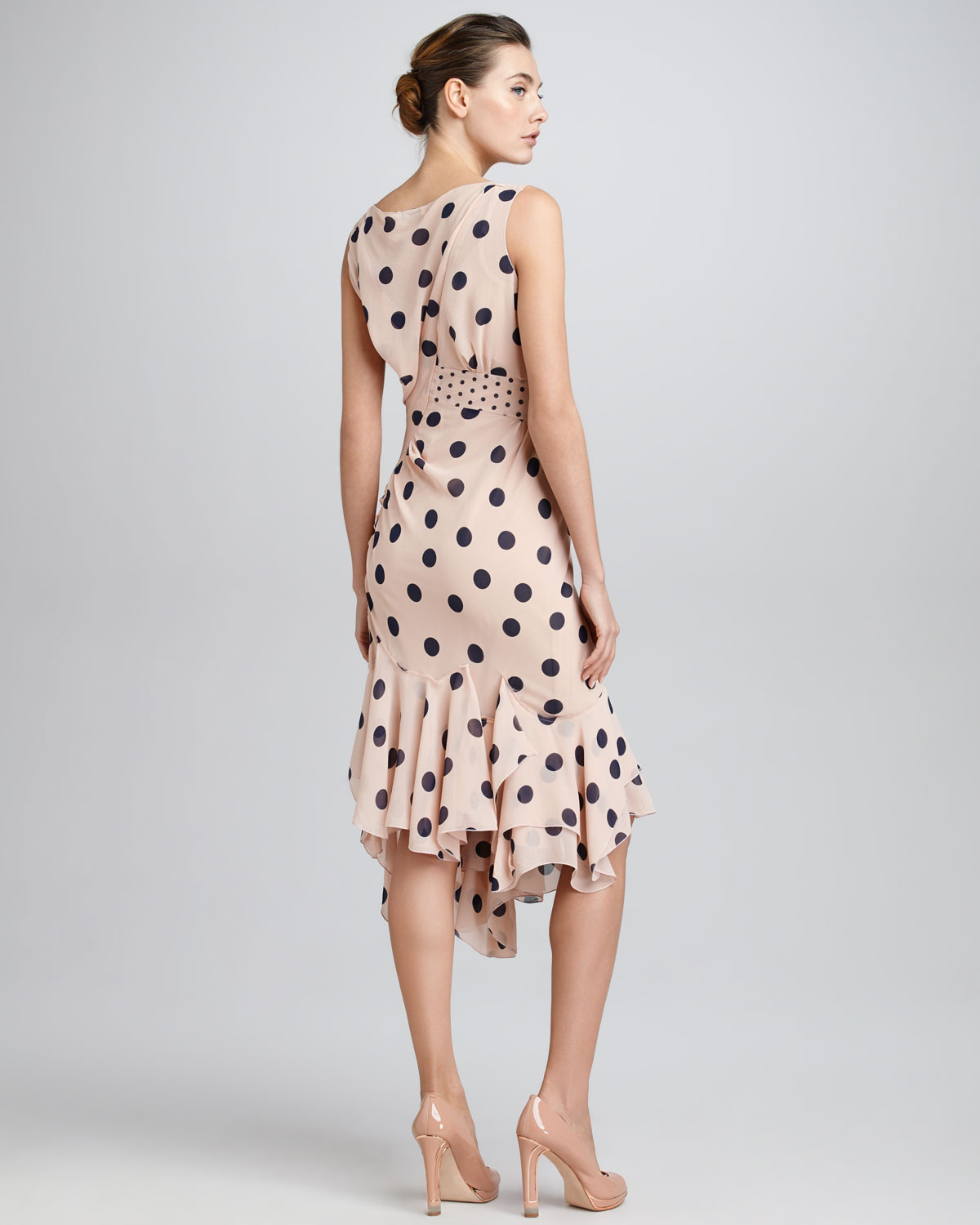 Lyst - Nina Ricci Sideruched Polka Dot Dress Terracottablue in Pink faa95a4e4
