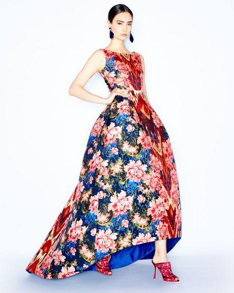 Oscar De La Renta Floral Ikat Jacquard Gown In Purple