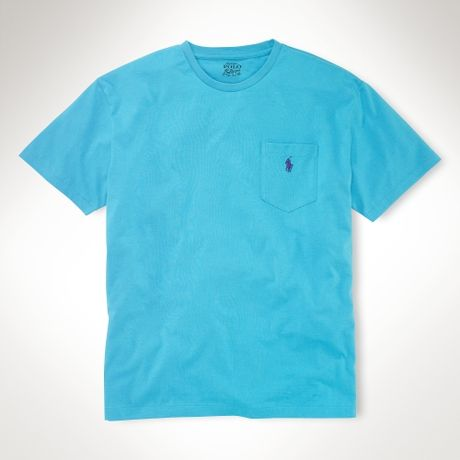Polo ralph lauren classic fit pocket t shirt in blue for for Polo t shirts with pocket online