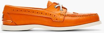 Thom Browne Orange Leather Wingtip Deck Shoes - Lyst