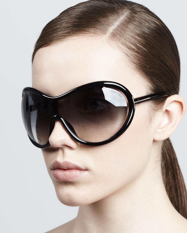 tom ford grant oversized shield sunglasses in black lyst. Black Bedroom Furniture Sets. Home Design Ideas