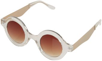 Topshop Metal Arm Round Sunglasses - Lyst