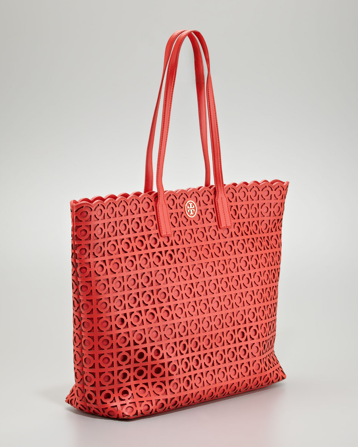 54f48861c9fd Lyst - Tory Burch Kelsey Lasercut Eastwest Tote Bag in Red