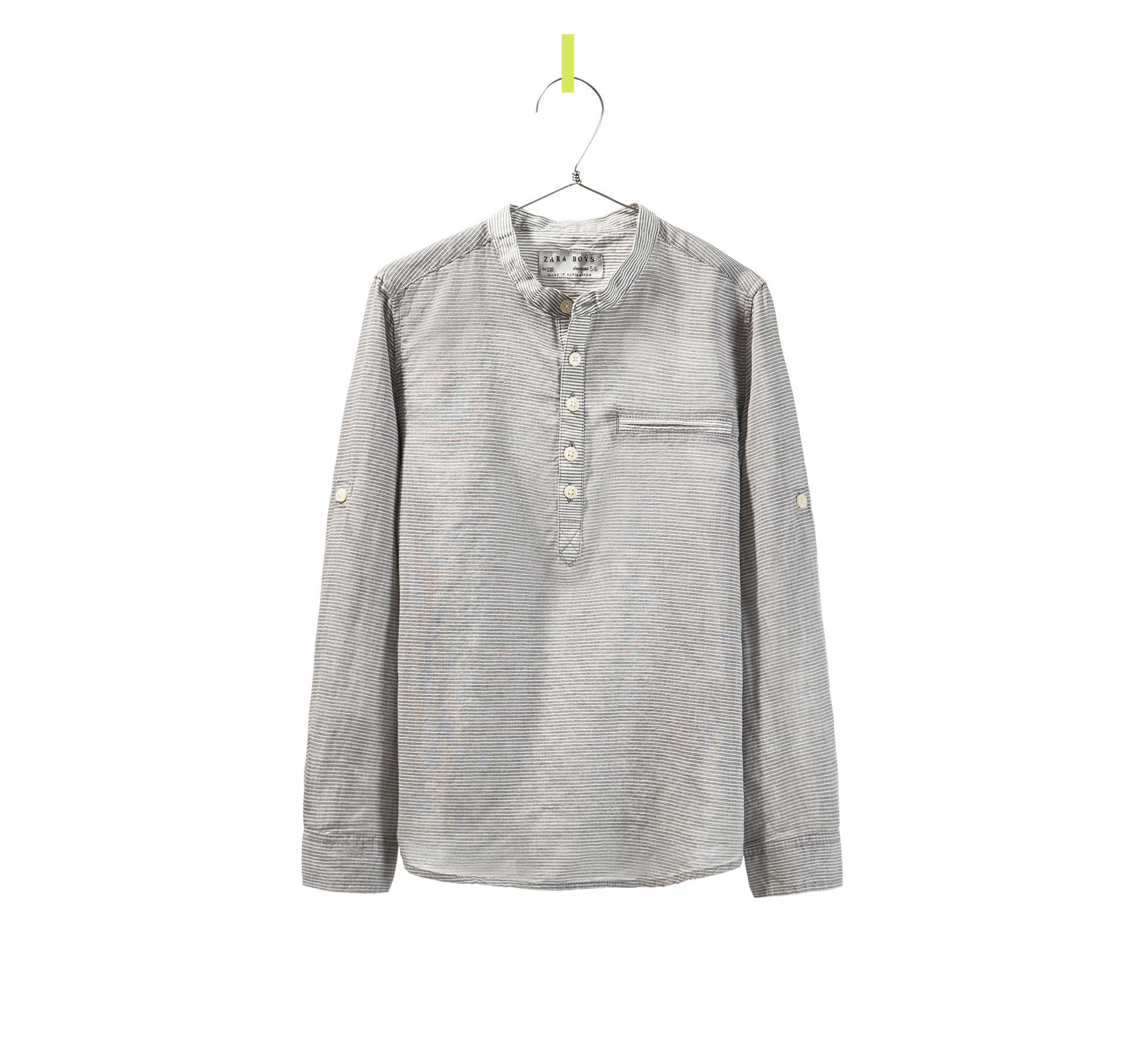 Zara horizontal stripe shirt with mao collar in gray for for Horizontal striped dress shirts men