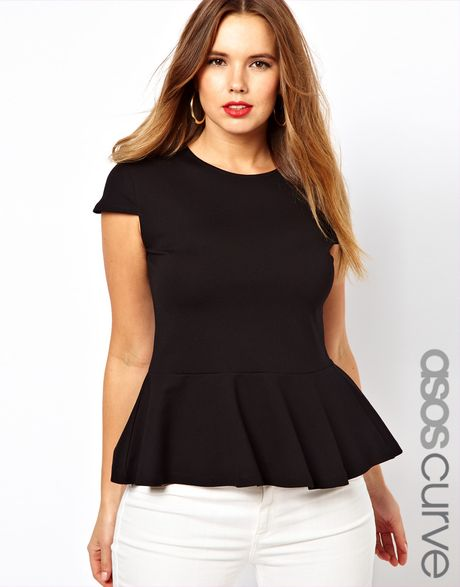 Asos Curve Top with Peplum Hem in Black