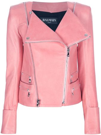 Balmain Fitted Biker Jacket - Lyst