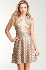 Bebe Chevron Sequin Flare Dress - Lyst