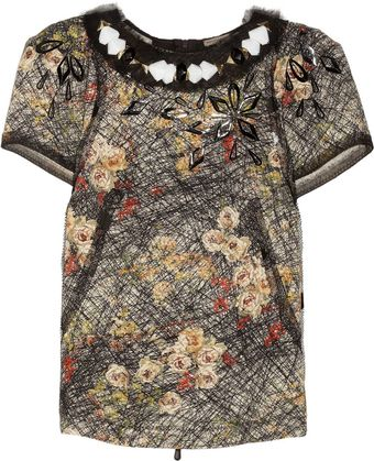 Bottega Veneta Embellished Printed Silk Crepe De Chine Top - Lyst