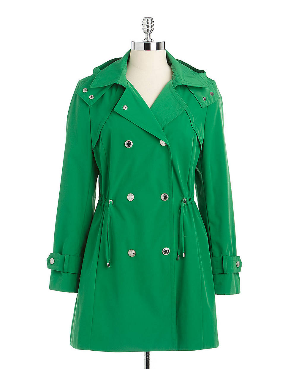 Calvin klein Hooded Double-breasted Trench Coat in Green ...