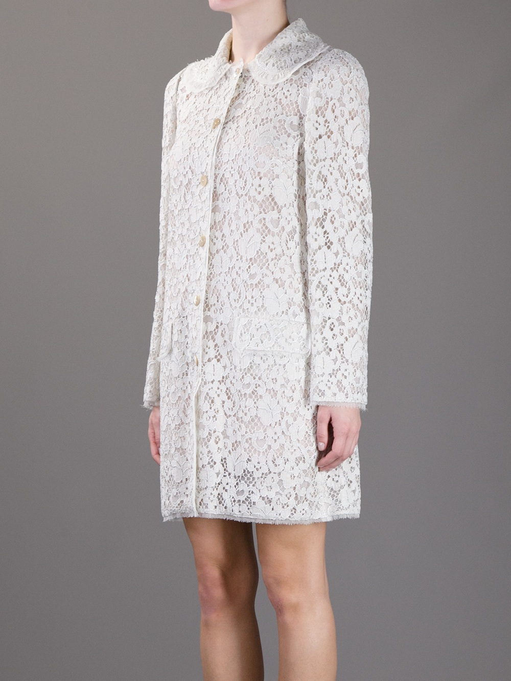 Lyst Dolce Amp Gabbana Lace Dress Coat In White