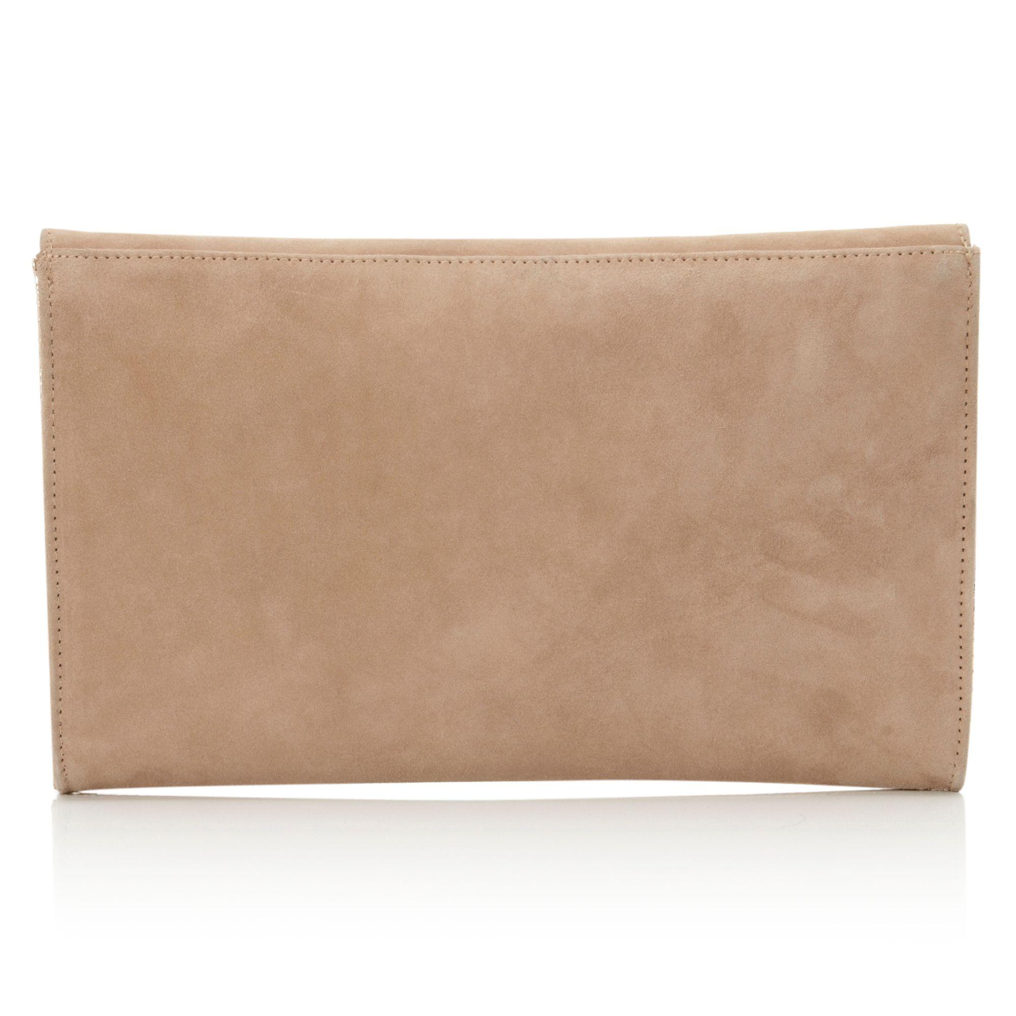 Dune elodie suede clutch bag : Dune bacco suede and metallic clutch bag in brown lyst