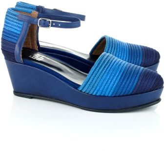 Folk Blue Moon Leather Sandi Wedges - Lyst