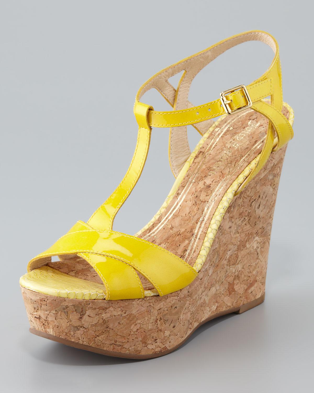 2728a125da Juicy Couture Dakota Cork Wedge Sandal in Yellow - Lyst