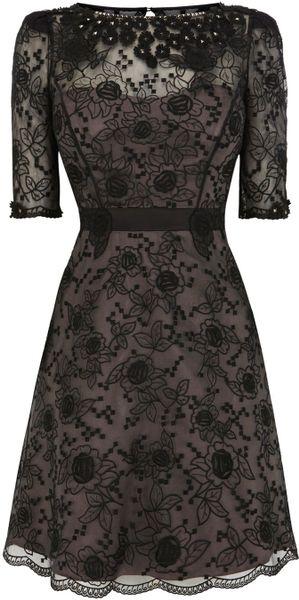 Karen millen d lace embroidery dress in black lyst