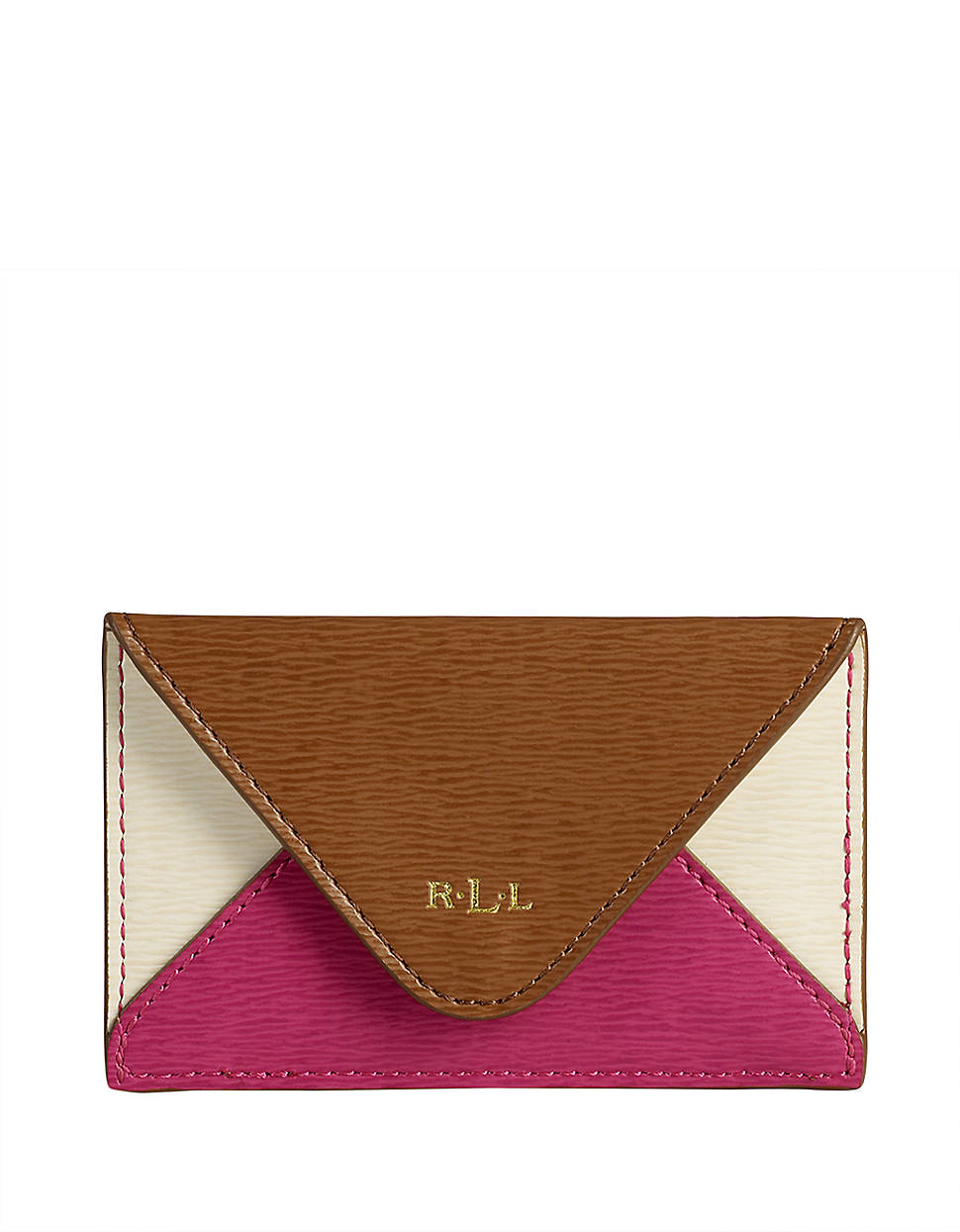 finest selection 314ee d9614 Lauren By Ralph Lauren Newbury Leather Colorblocked Envelope Card ...