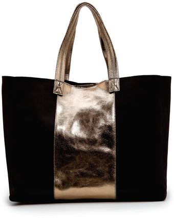 Mango Leather Tote with Metallic Panel - Lyst