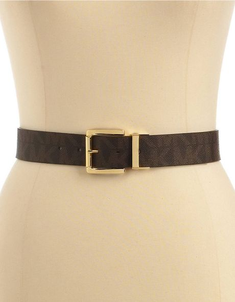 michael kors reversible faux leather logo belt in brown lyst