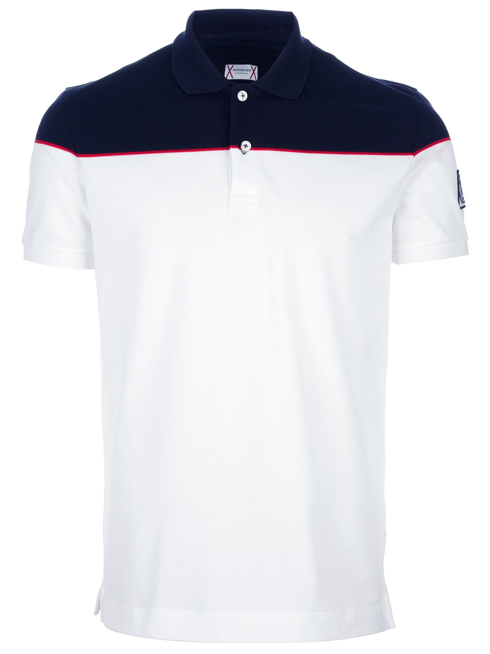 moncler bicolour polo shirt in white for men lyst. Black Bedroom Furniture Sets. Home Design Ideas