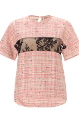 No.21 Pink Tweed Lace Insert Top