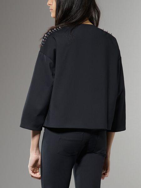 patrizia pepe mantel jacket in black nero lyst
